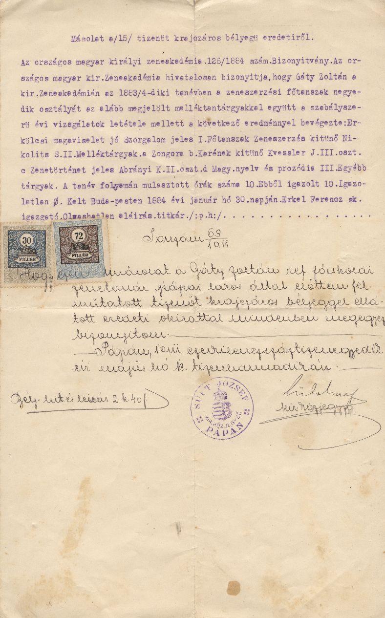 Gáty Zoltán 1884. Január 30-án kelt Zeneakadémiai diplomájának másolata