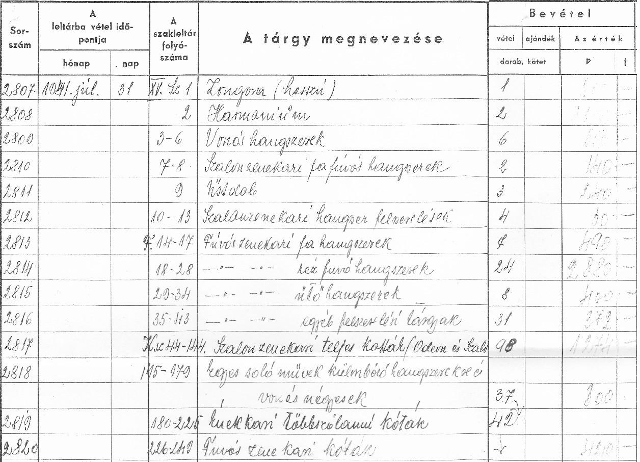 A Bencés Reálgimnázium zene és kottatárának 1941-es leltára