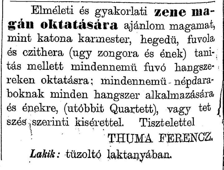 Thuma Ferenc hírdetése a Pápai Lapokban (1884. 11. 30., 202. old.)