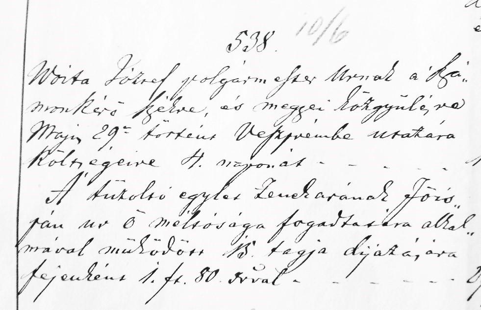 Az 1885-ös jegyzőkönyv a tűzoltózenészek díjáról